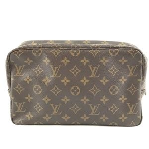 Pouch Cosmetic Case Trousse Brown Monogram Clutch